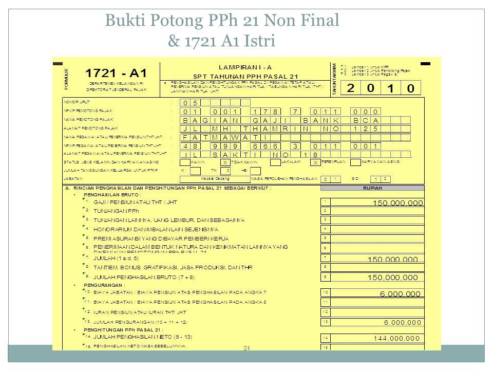 Bukti Potong PPh 21 Non Final & 1721 A1 Istri 31