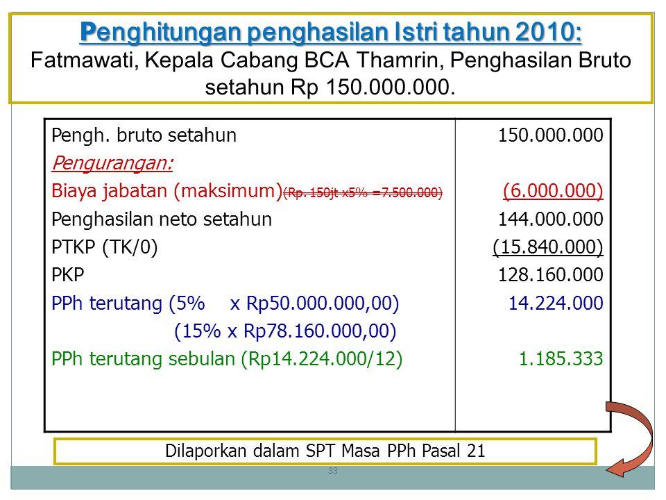 P enghitungan penghasilan Istri tahun 2010: P enghitungan penghasilan Istri tahun 2010: Fatmawati, Kepala Cabang BCA Thamrin, Penghasilan Bruto setahun Rp 150.000.000.
