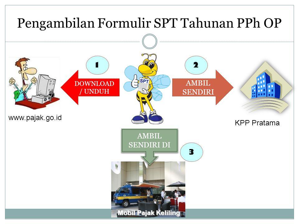Pengambilan Formulir SPT Tahunan PPh OP KPP Pratama www.pajak.go.id DOWNLOAD / UNDUH Mobil Pajak Keliling AMBIL SENDIRI DI 1 AMBIL SENDIRI 2 3