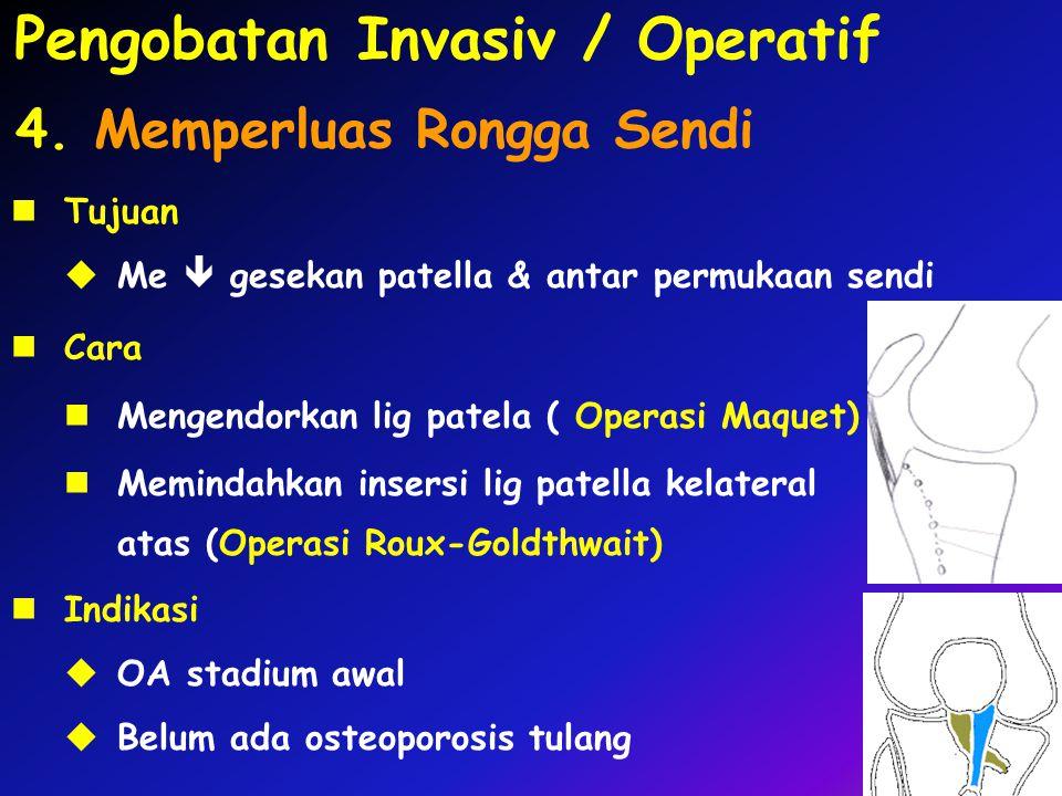Cara Mengendorkan lig patela ( Operasi Maquet) Memindahkan insersi lig patella kelateral atas (Operasi Roux-Goldthwait) 4. Memperluas Rongga Sendi Ind