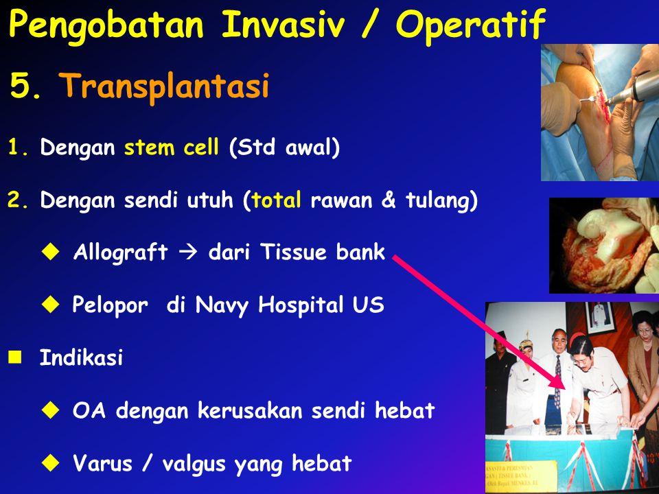1.Dengan stem cell (Std awal) 2.Dengan sendi utuh (total rawan & tulang)  Allograft  dari Tissue bank  Pelopor di Navy Hospital US Indikasi  OA de