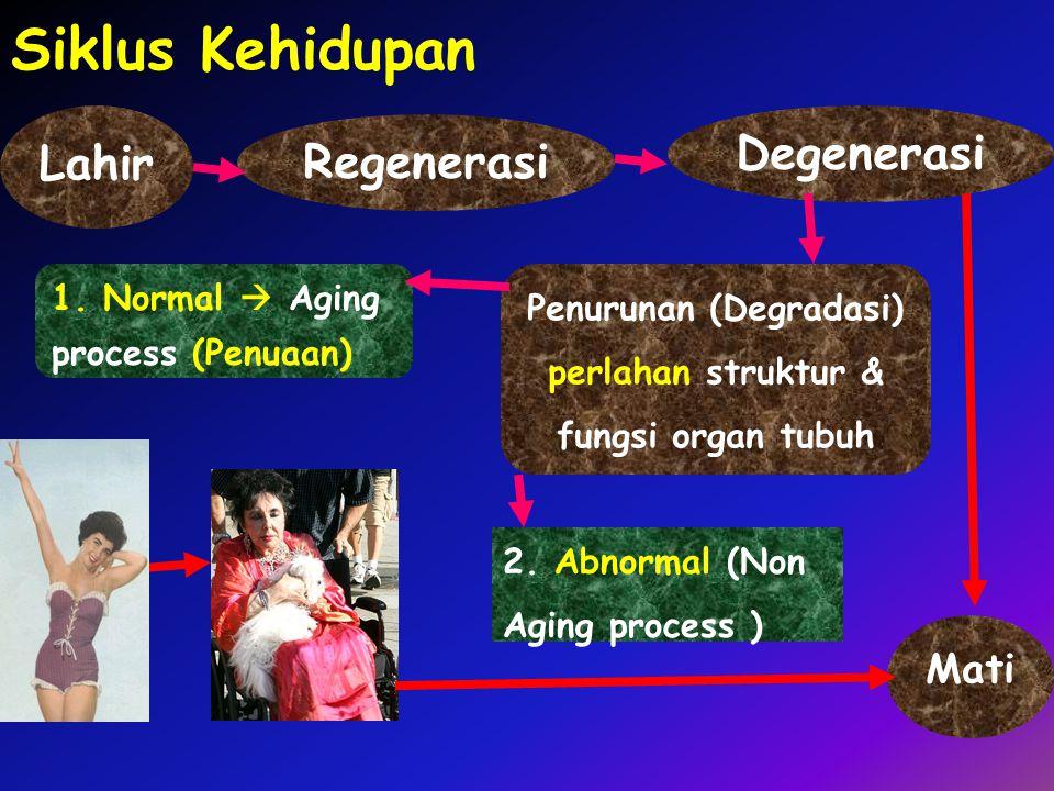 Regenerasi Siklus Kehidupan Penurunan (Degradasi) perlahan struktur & fungsi organ tubuh Degenerasi 1. Normal  Aging process (Penuaan) 2. Abnormal (N