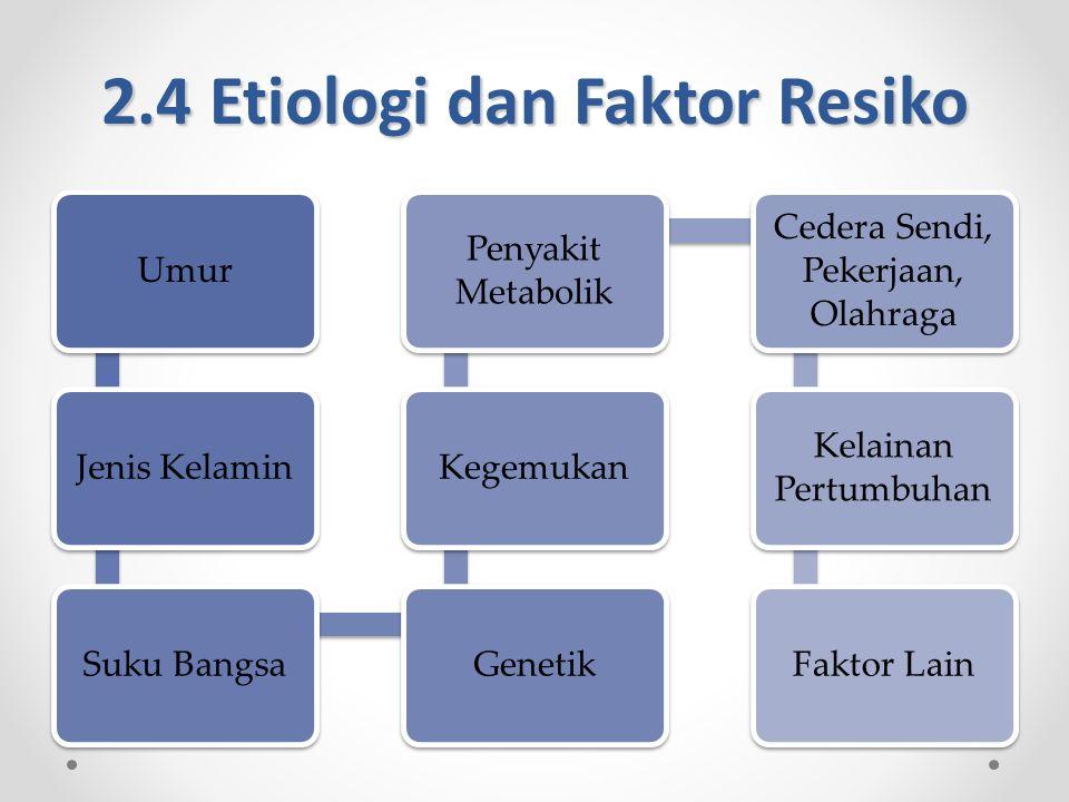 2.4 Etiologi dan Faktor Resiko UmurJenis KelaminSuku BangsaGenetikKegemukan Penyakit Metabolik Cedera Sendi, Pekerjaan, Olahraga Kelainan Pertumbuhan Faktor Lain