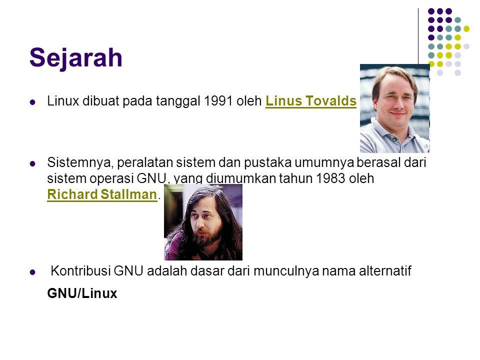 Sejarah Linux dibuat pada tanggal 1991 oleh Linus Tovalds Sistemnya, peralatan sistem dan pustaka umumnya berasal dari sistem operasi GNU, yang diumumkan tahun 1983 oleh Richard Stallman.