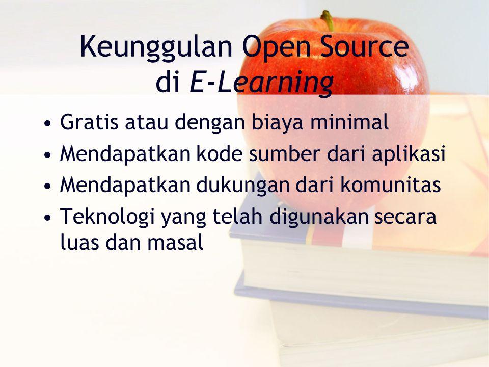 Keunggulan Open Source di E-Learning Gratis atau dengan biaya minimal Mendapatkan kode sumber dari aplikasi Mendapatkan dukungan dari komunitas Teknologi yang telah digunakan secara luas dan masal
