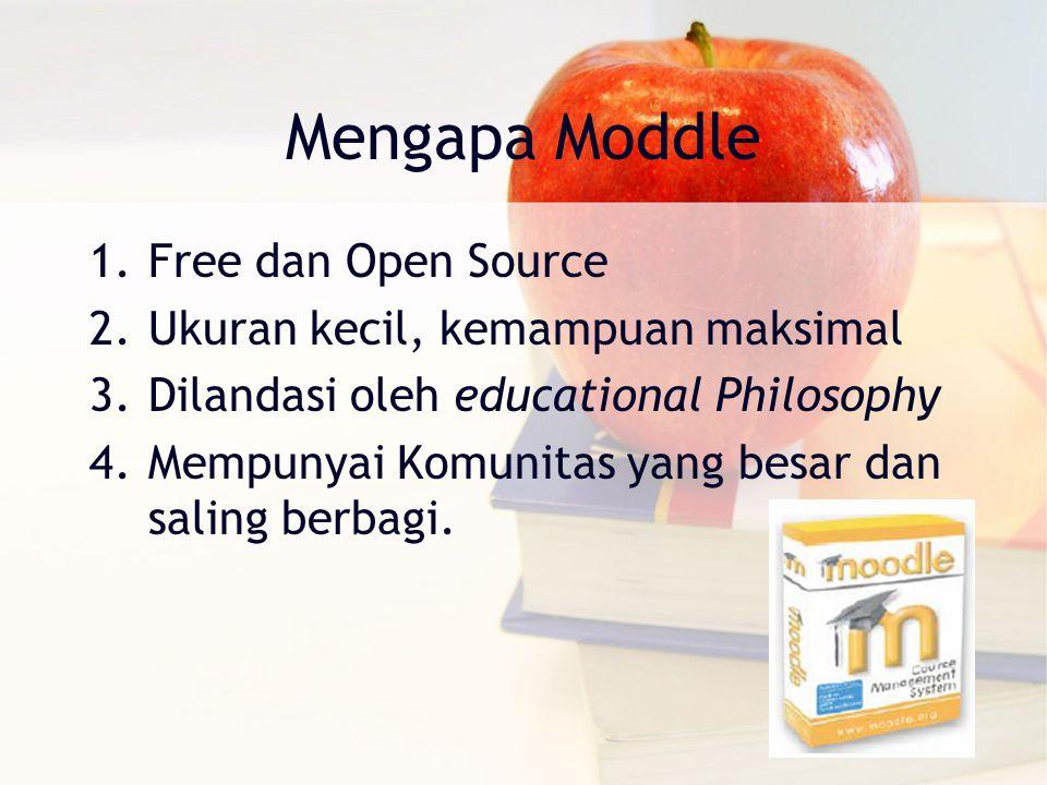 Mengapa Moddle 1.Free dan Open Source 2.Ukuran kecil, kemampuan maksimal 3.Dilandasi oleh educational Philosophy 4.Mempunyai Komunitas yang besar dan saling berbagi.