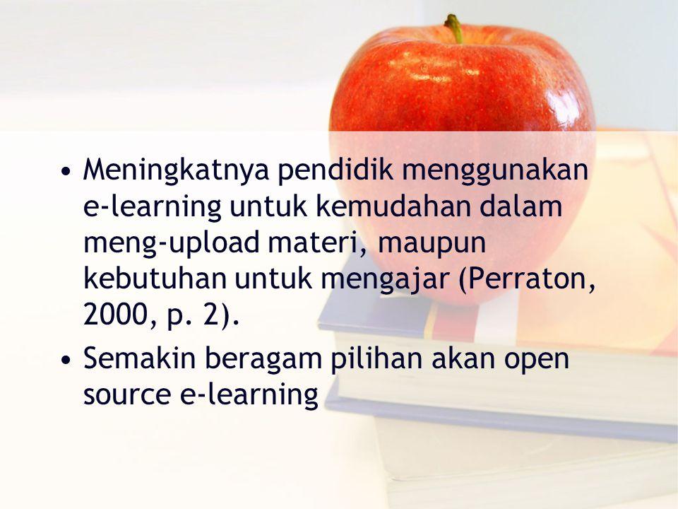 Meningkatnya pendidik menggunakan e-learning untuk kemudahan dalam meng-upload materi, maupun kebutuhan untuk mengajar (Perraton, 2000, p.