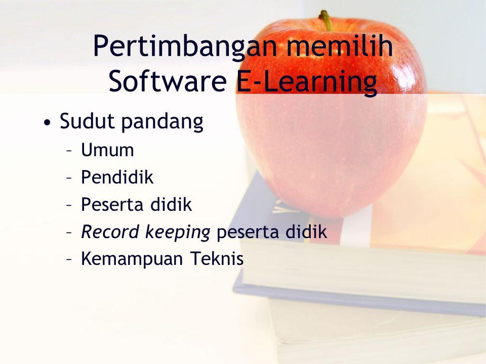 Pertimbangan memilih Software E-Learning Sudut pandang –Umum –Pendidik –Peserta didik –Record keeping peserta didik –Kemampuan Teknis