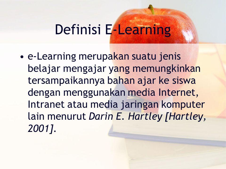 Definisi E-Learning e‐Learning merupakan suatu jenis belajar mengajar yang memungkinkan tersampaikannya bahan ajar ke siswa dengan menggunakan media Internet, Intranet atau media jaringan komputer lain menurut Darin E.