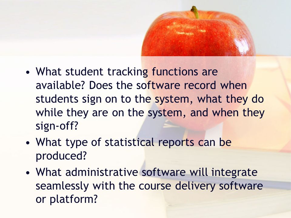 What student tracking functions are available.