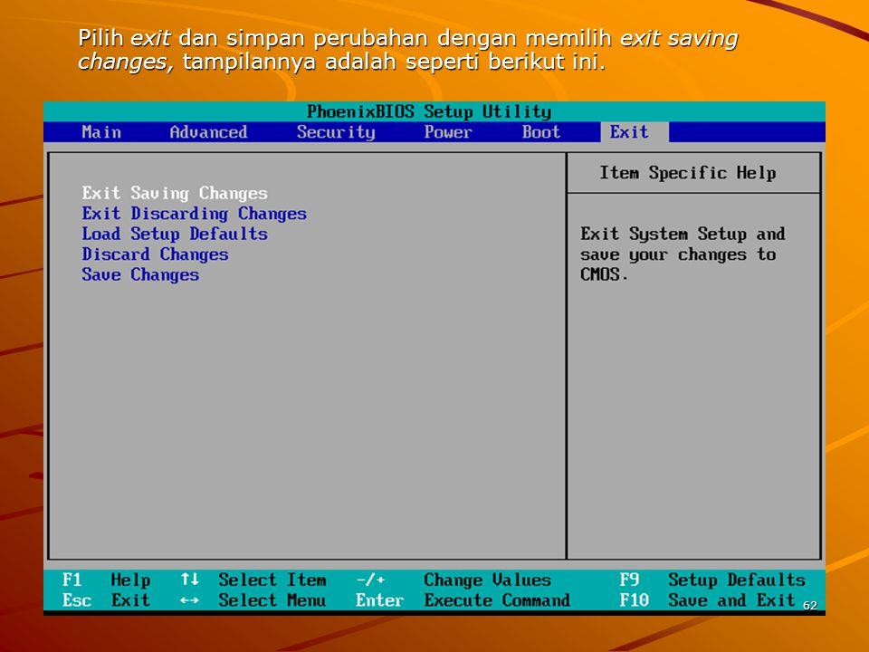 Pilih exit dan simpan perubahan dengan memilih exit saving changes, tampilannya adalah seperti berikut ini.