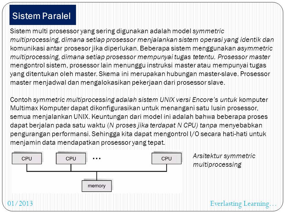 Sistem Paralel Sistem paralel atau sistem multiprosessor mempunyai lebih dari satu prosessor yang dapat berkomunikasi, membagi bus, clock dan juga per
