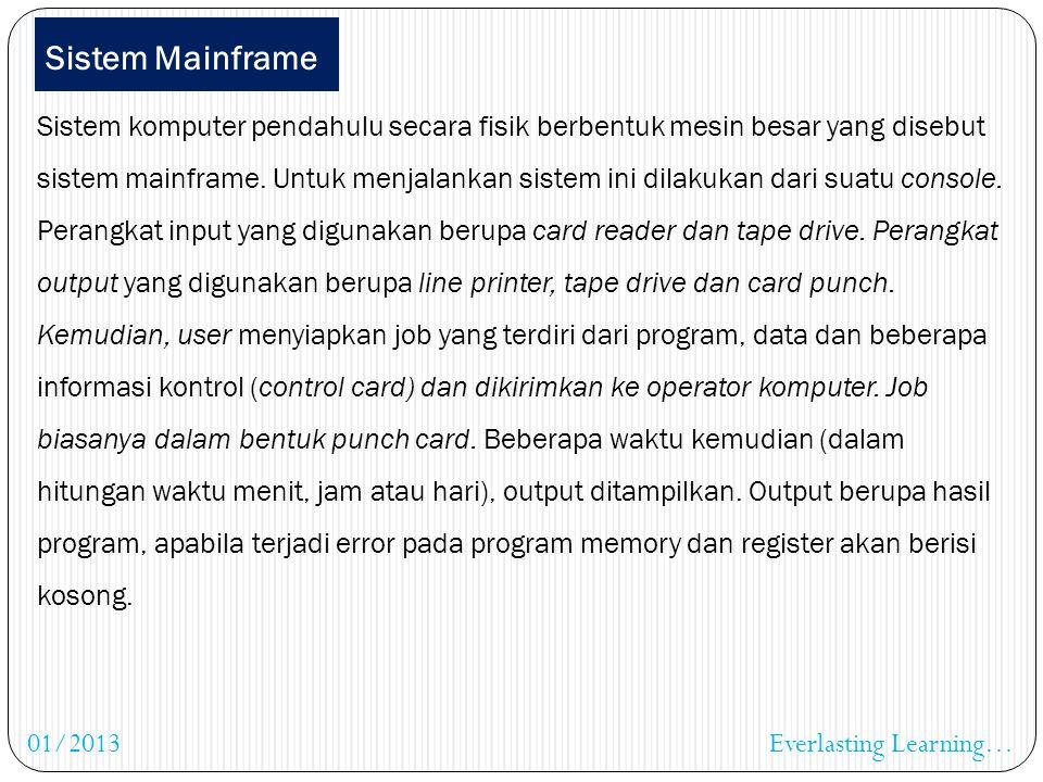 Hubungan OS dengan komponen sistem komputer lain Everlasting Learning…01/2013