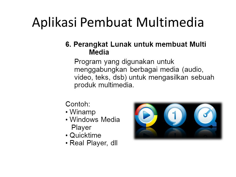 Aplikasi Pembuat Presentasi 5. Perangkat Lunak Pembuat Presentasi Adalah program yang digunakan untuk keperluan presentasi, menampilkan slide atau lem