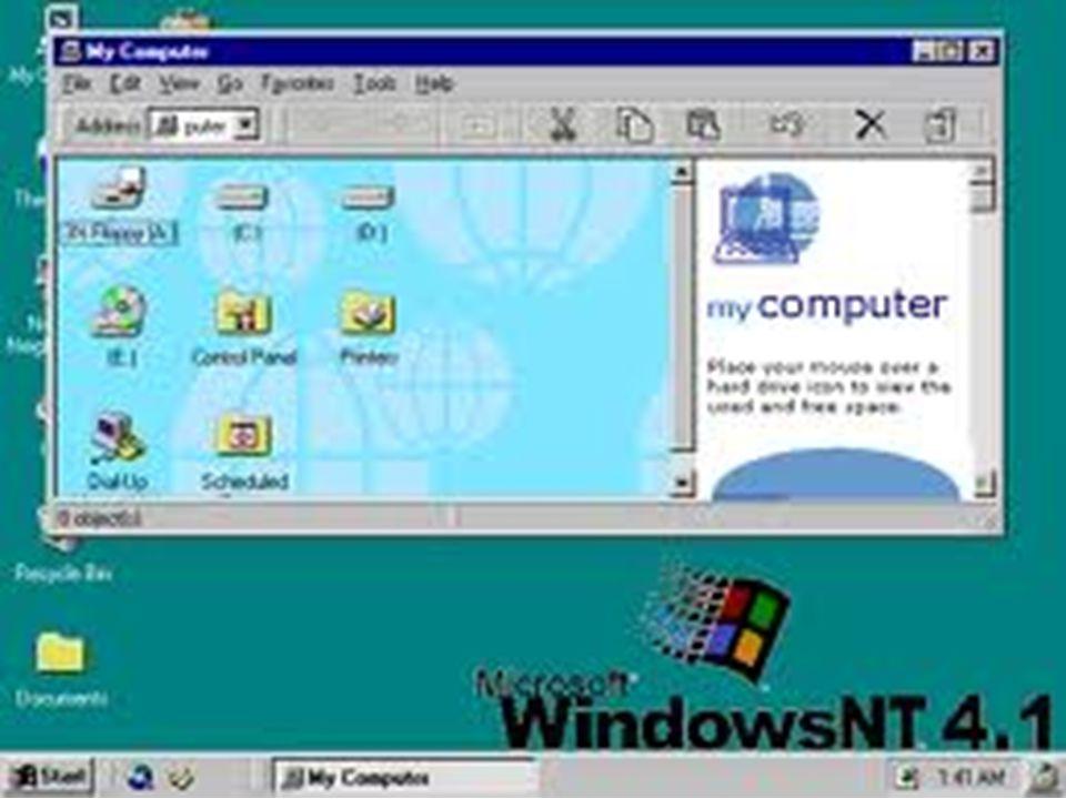Windows 98 (NT 4.1) Dirilis 25 Juni 1998 Mendukung sistem berkas FAT32 (mengijinkan partisi lebih dari 2 Gb) Built-in Internet Explorer Diperkenalkan
