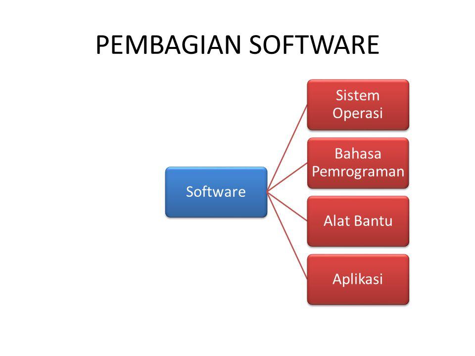 PEMBAGIAN SOFTWARE Software Sistem Operasi Bahasa Pemrograman Alat BantuAplikasi