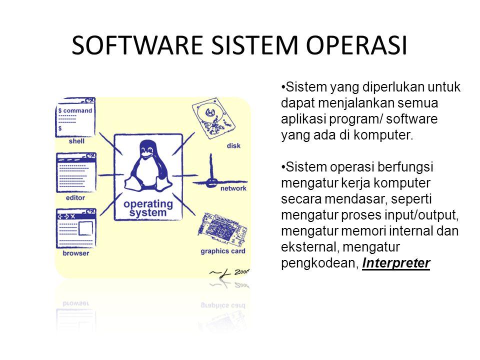 SOFTWARE SISTEM OPERASI Sistem yang diperlukan untuk dapat menjalankan semua aplikasi program/ software yang ada di komputer.