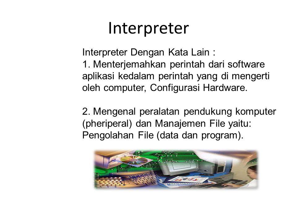 Interpreter Interpreter Dengan Kata Lain : 1.