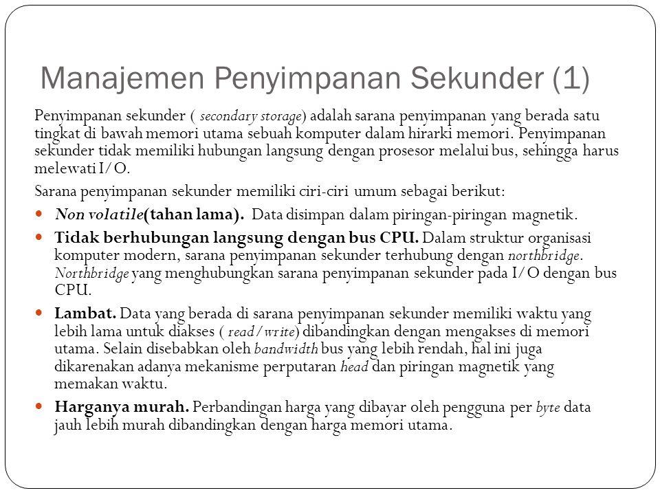 Manajemen Penyimpanan Sekunder (1) Penyimpanan sekunder ( secondary storage) adalah sarana penyimpanan yang berada satu tingkat di bawah memori utama sebuah komputer dalam hirarki memori.
