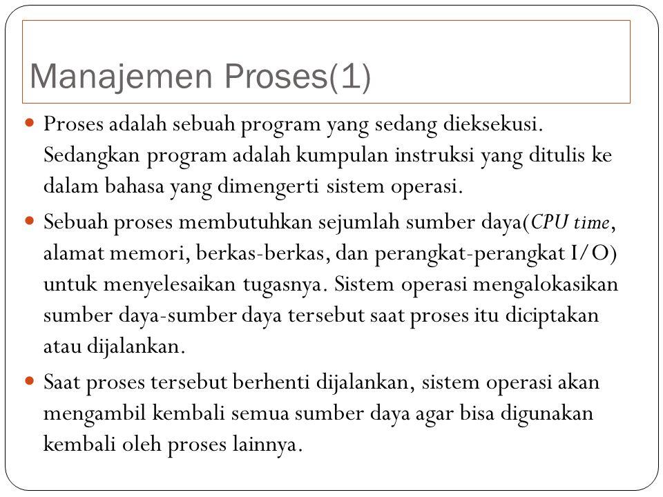 Manajemen Proses(1) Proses adalah sebuah program yang sedang dieksekusi.