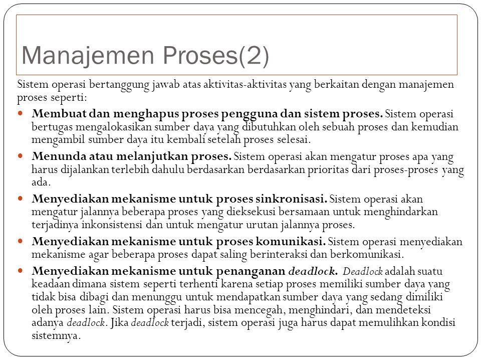 Manajemen Proses(2) Sistem operasi bertanggung jawab atas aktivitas-aktivitas yang berkaitan dengan manajemen proses seperti: Membuat dan menghapus proses pengguna dan sistem proses.