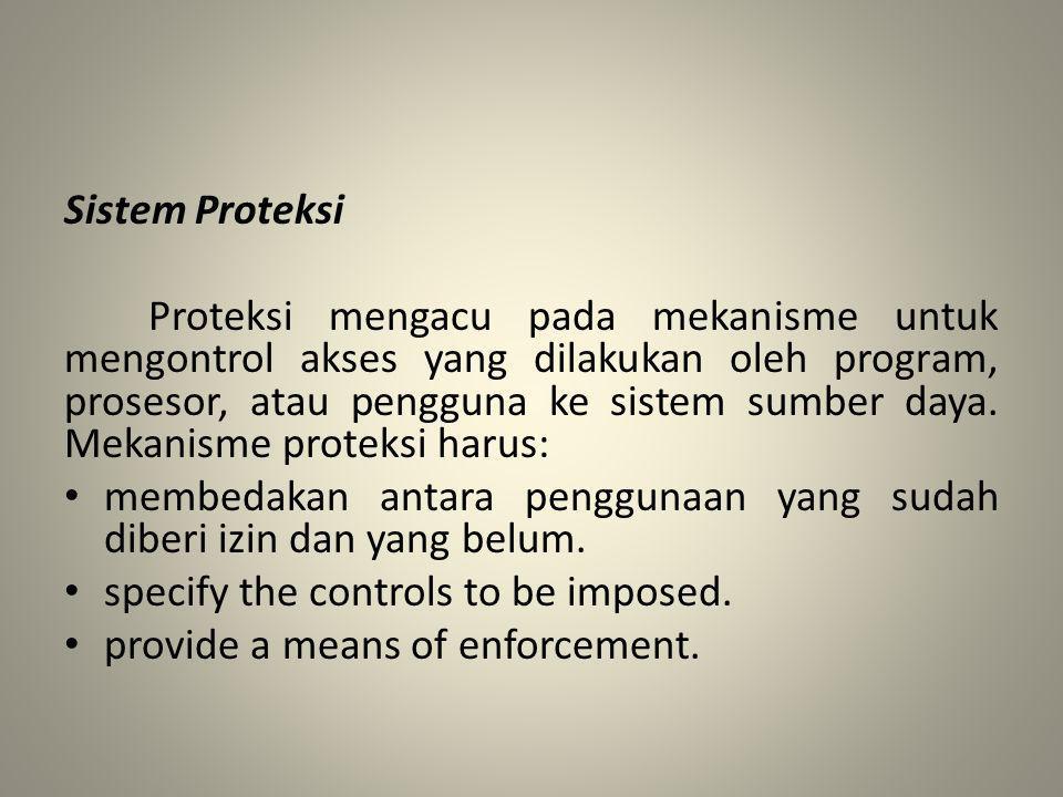 Sistem Proteksi Proteksi mengacu pada mekanisme untuk mengontrol akses yang dilakukan oleh program, prosesor, atau pengguna ke sistem sumber daya. Mek