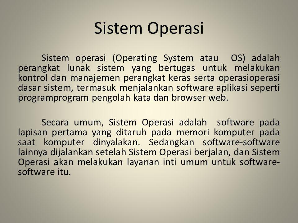 Sistem Operasi Sistem operasi (Operating System atau OS) adalah perangkat lunak sistem yang bertugas untuk melakukan kontrol dan manajemen perangkat k