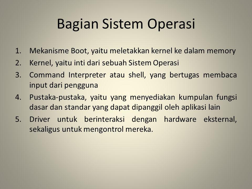Bagian Sistem Operasi 1.Mekanisme Boot, yaitu meletakkan kernel ke dalam memory 2.Kernel, yaitu inti dari sebuah Sistem Operasi 3.Command Interpreter