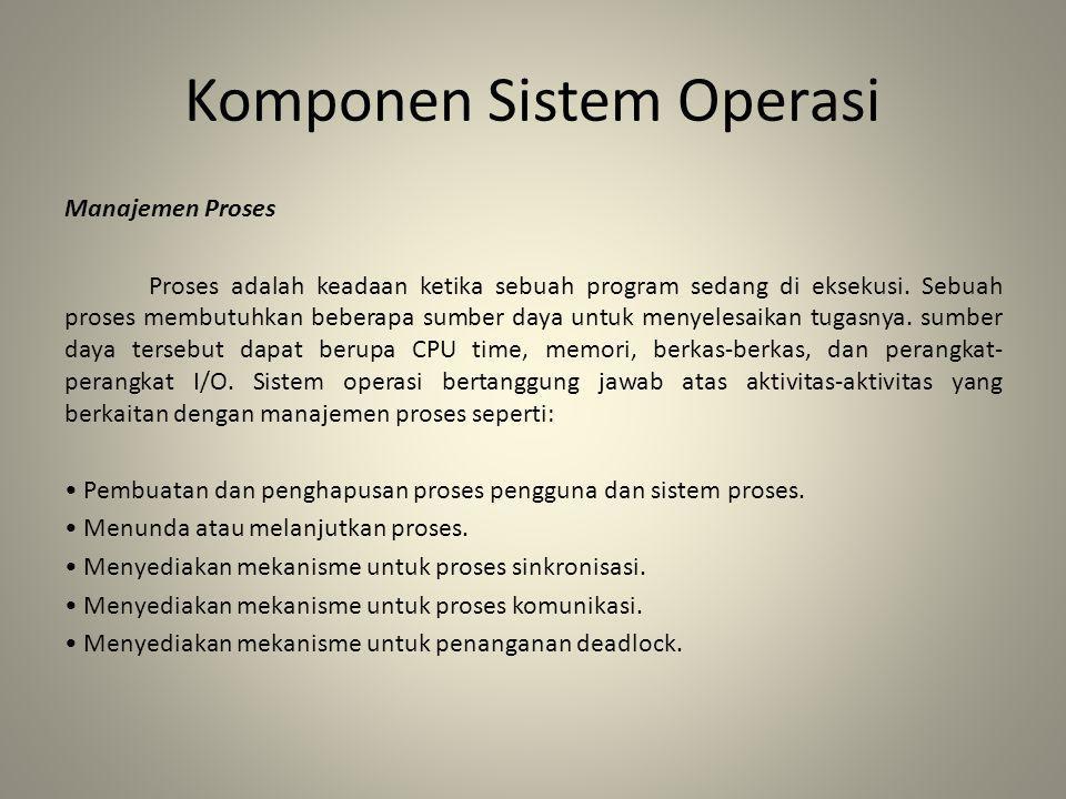 Komponen Sistem Operasi Manajemen Proses Proses adalah keadaan ketika sebuah program sedang di eksekusi. Sebuah proses membutuhkan beberapa sumber day
