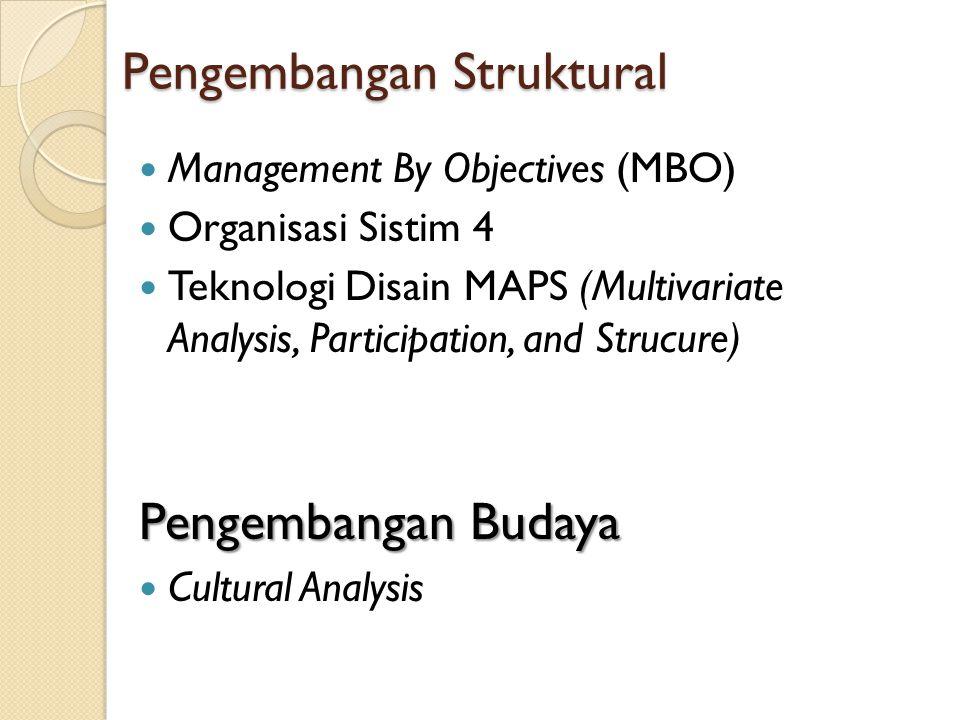 Pengembangan Struktural Management By Objectives (MBO) Organisasi Sistim 4 Teknologi Disain MAPS (Multivariate Analysis, Participation, and Strucure)