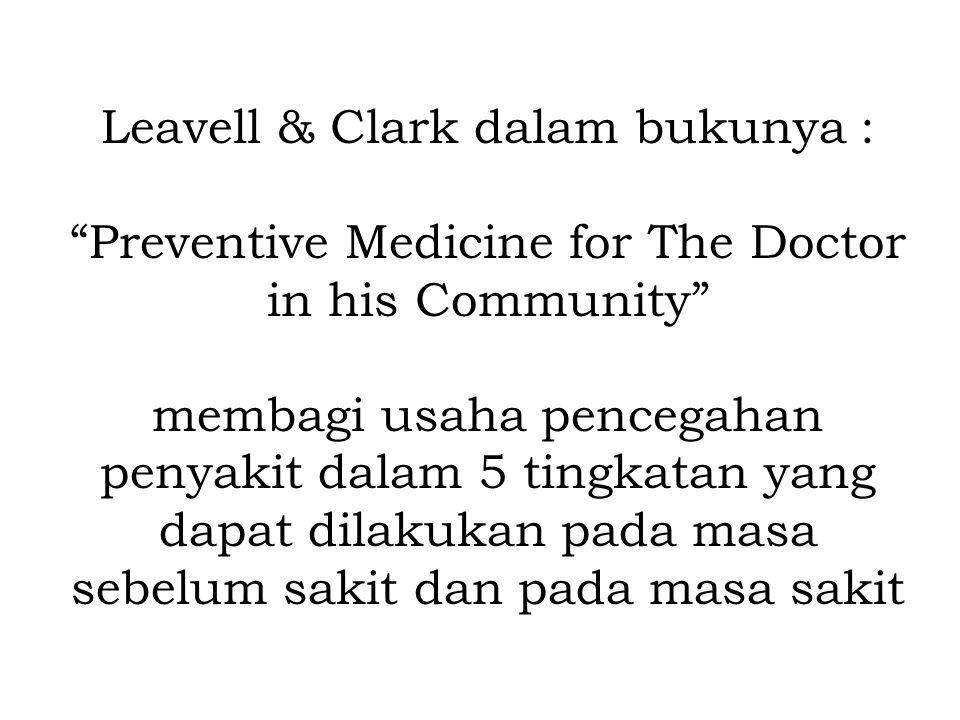 """Leavell & Clark dalam bukunya : """"Preventive Medicine for The Doctor in his Community"""" membagi usaha pencegahan penyakit dalam 5 tingkatan yang dapat d"""