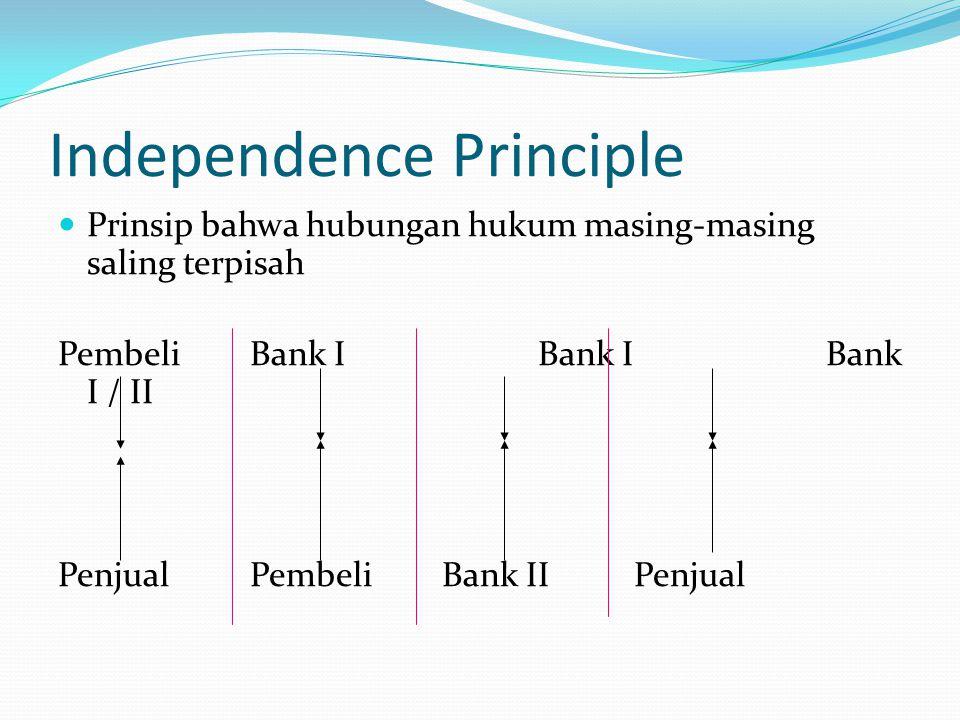 Independence Principle Prinsip bahwa hubungan hukum masing-masing saling terpisah PembeliBank IBank IBank I / II PenjualPembeliBank IIPenjual