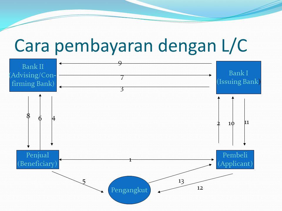 Cara pembayaran dengan L/C Bank II (Advising/Con- firming Bank) Bank I (Issuing Bank) Penjual (Beneficiary) Pembeli (Applicant) 9 7 3 210 11 8 6 4 1 P