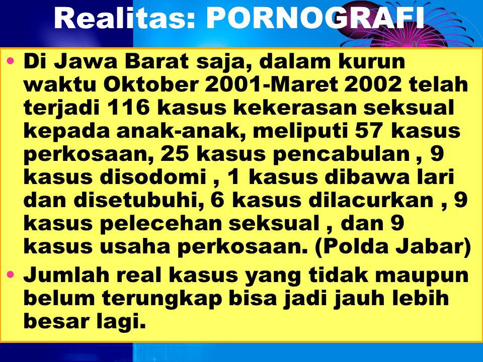 Realitas: PORNOGRAFI Indonesia berada di urutan kedua setelah Rusia sebagai surga bagi pornografi. (Associated Press/Republika, 17/07/2003). Bisnis pr