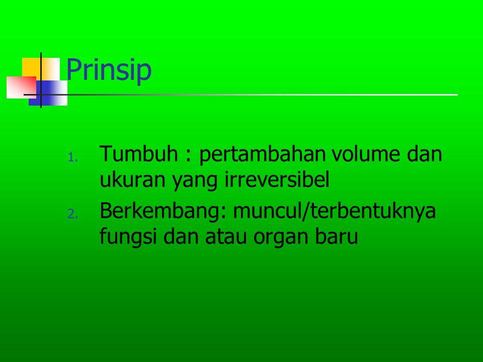 Prinsip 1. Tumbuh : pertambahan volume dan ukuran yang irreversibel 2. Berkembang: muncul/terbentuknya fungsi dan atau organ baru
