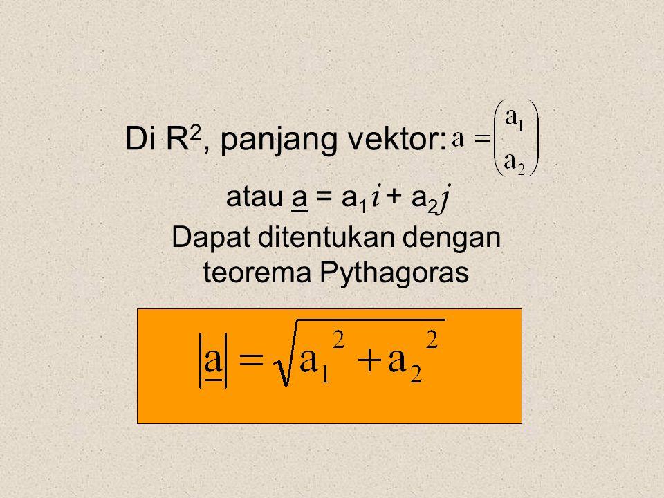 Di R 2, panjang vektor: atau a = a 1 i + a 2 j Dapat ditentukan dengan teorema Pythagoras