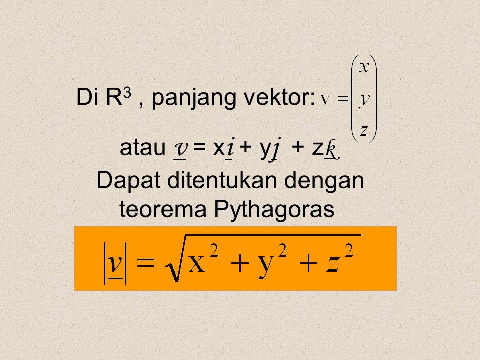 Di R 3, panjang vektor: atau v = x i + y j + z k Dapat ditentukan dengan teorema Pythagoras