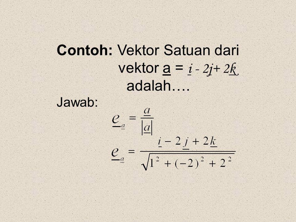 Contoh: Vektor Satuan dari vektor a = i - 2j+ 2k adalah…. Jawab: