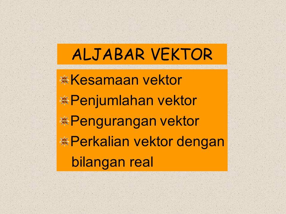 ALJABAR VEKTOR Kesamaan vektor Penjumlahan vektor Pengurangan vektor Perkalian vektor dengan bilangan real