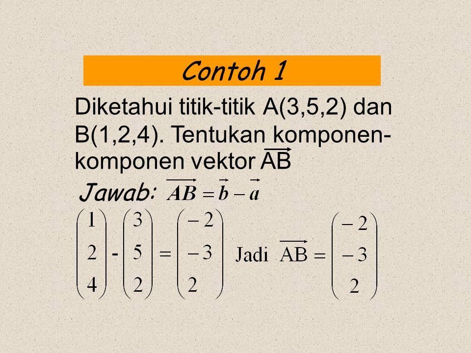 Contoh 1 Jawab: Diketahui titik-titik A(3,5,2) dan B(1,2,4). Tentukan komponen- komponen vektor AB