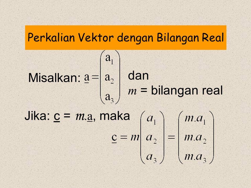 Perkalian Vektor dengan Bilangan Real Misalkan: Jika: c = m.a, maka dan m = bilangan real