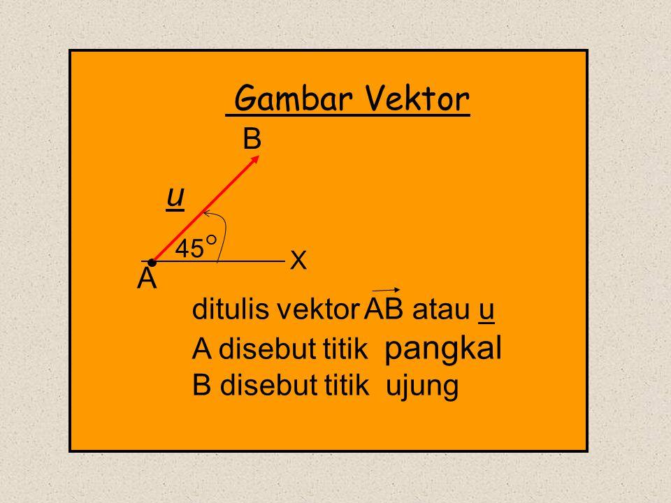 A B ditulis vektor AB atau u A disebut titik pangkal B disebut titik ujung u 45  X Gambar Vektor