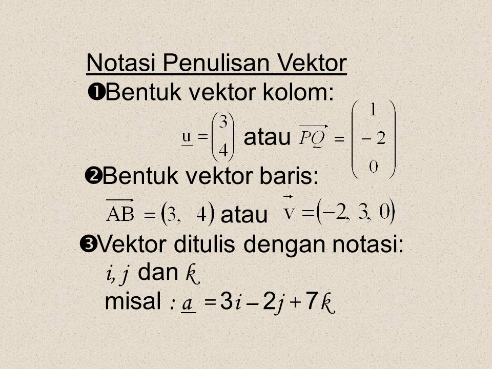 Notasi Penulisan Vektor  Bentuk vektor kolom: atau  Bentuk vektor baris: atau  Vektor ditulis dengan notasi: i, j dan k misal : a = 3 i – 2 j + 7 k