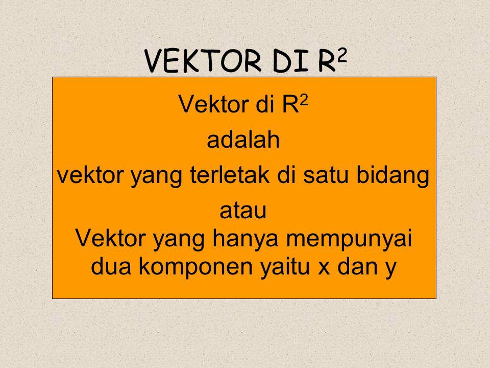 VEKTOR DI R 2 Vektor di R 2 adalah vektor yang terletak di satu bidang atau Vektor yang hanya mempunyai dua komponen yaitu x dan y