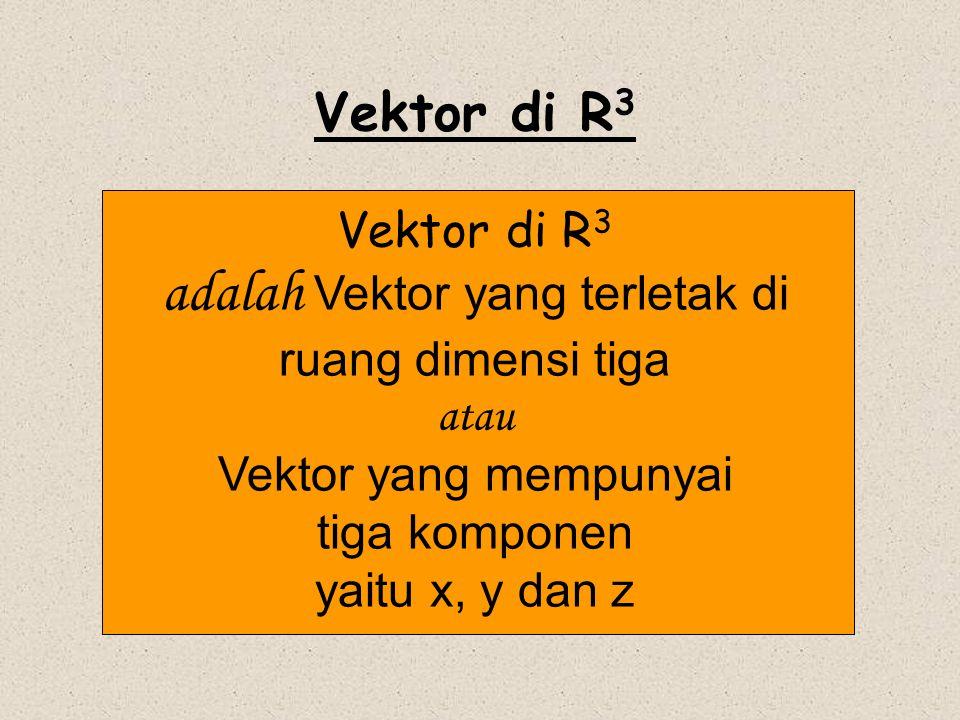 Misalkan koordinat titik T di R 3 adalah (x, y, z) maka OP = x i ; OQ = y j dan OS = z k X Y Z  T(x,y,z) O xixi yjyj zkzk PP QQ SS