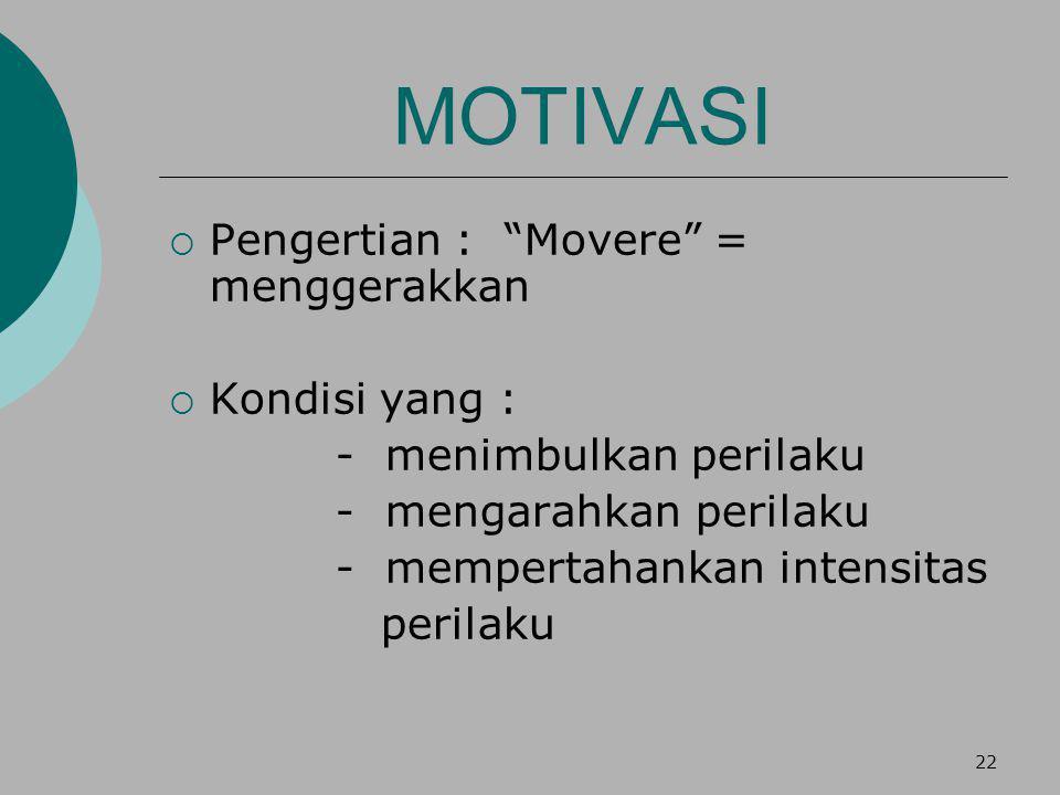 22 MOTIVASI  Pengertian : Movere = menggerakkan  Kondisi yang : - menimbulkan perilaku - mengarahkan perilaku - mempertahankan intensitas perilaku