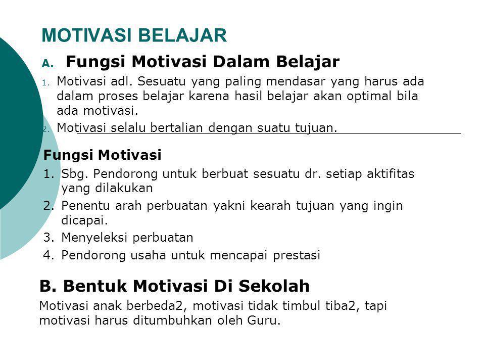 MOTIVASI BELAJAR A.Fungsi Motivasi Dalam Belajar 1.