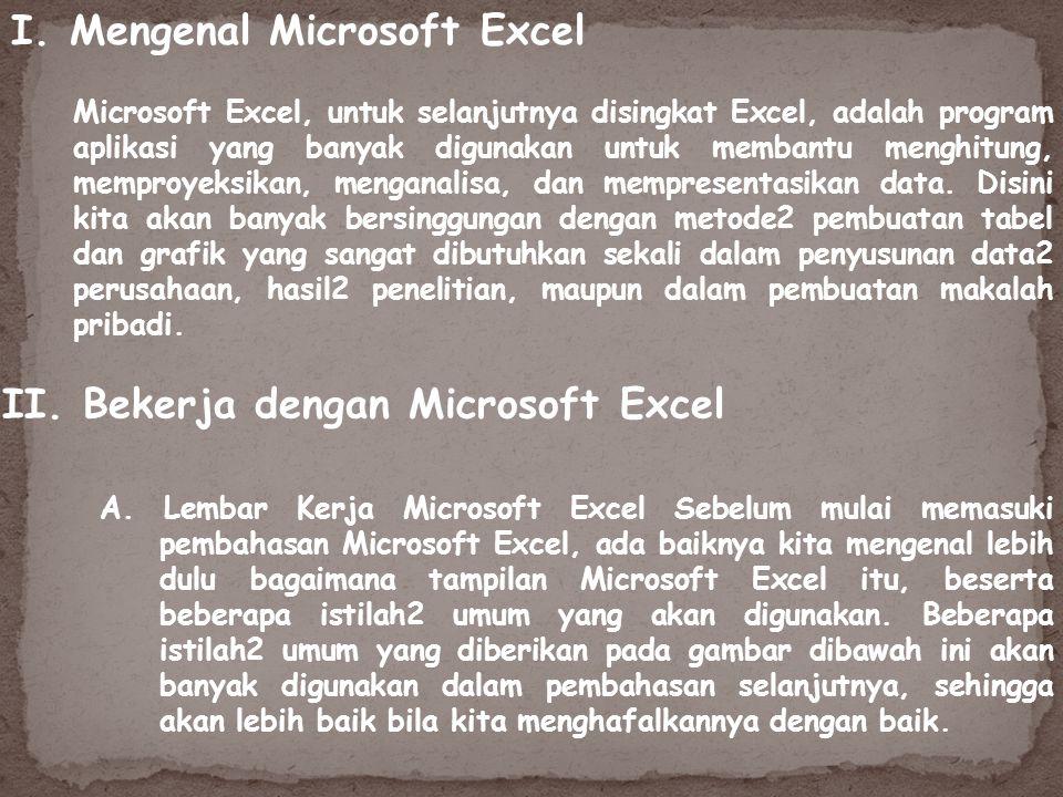 Microsoft Excel, untuk selanjutnya disingkat Excel, adalah program aplikasi yang banyak digunakan untuk membantu menghitung, memproyeksikan, menganali