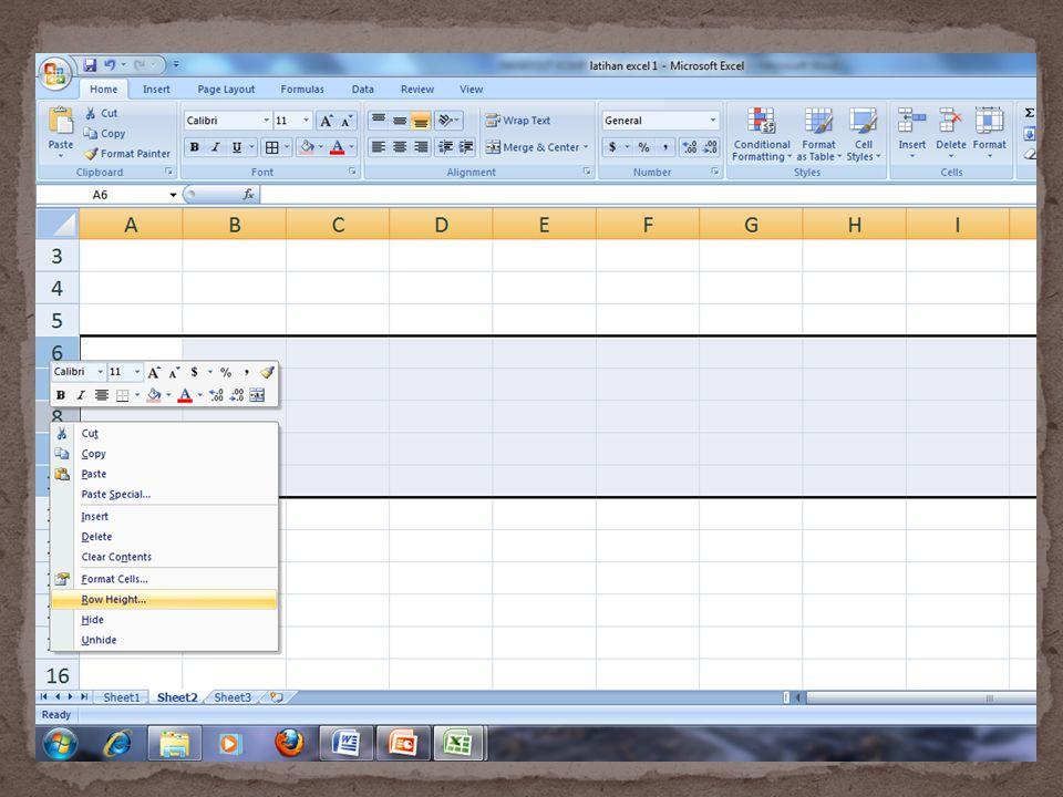 Data yang ketikkan pada lembar kerja dapat ditampilkan dengan berbagai bentuk untuk memudahkan dan membuat variasi dalam lembar kerja anda.