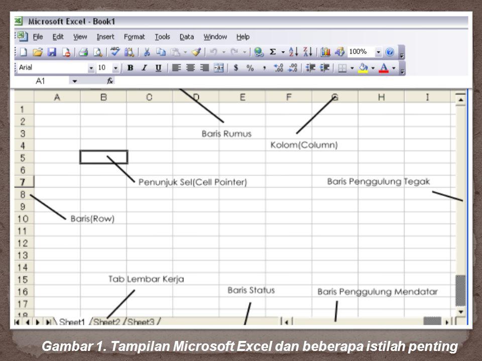 Gambar 1. Tampilan Microsoft Excel dan beberapa istilah penting